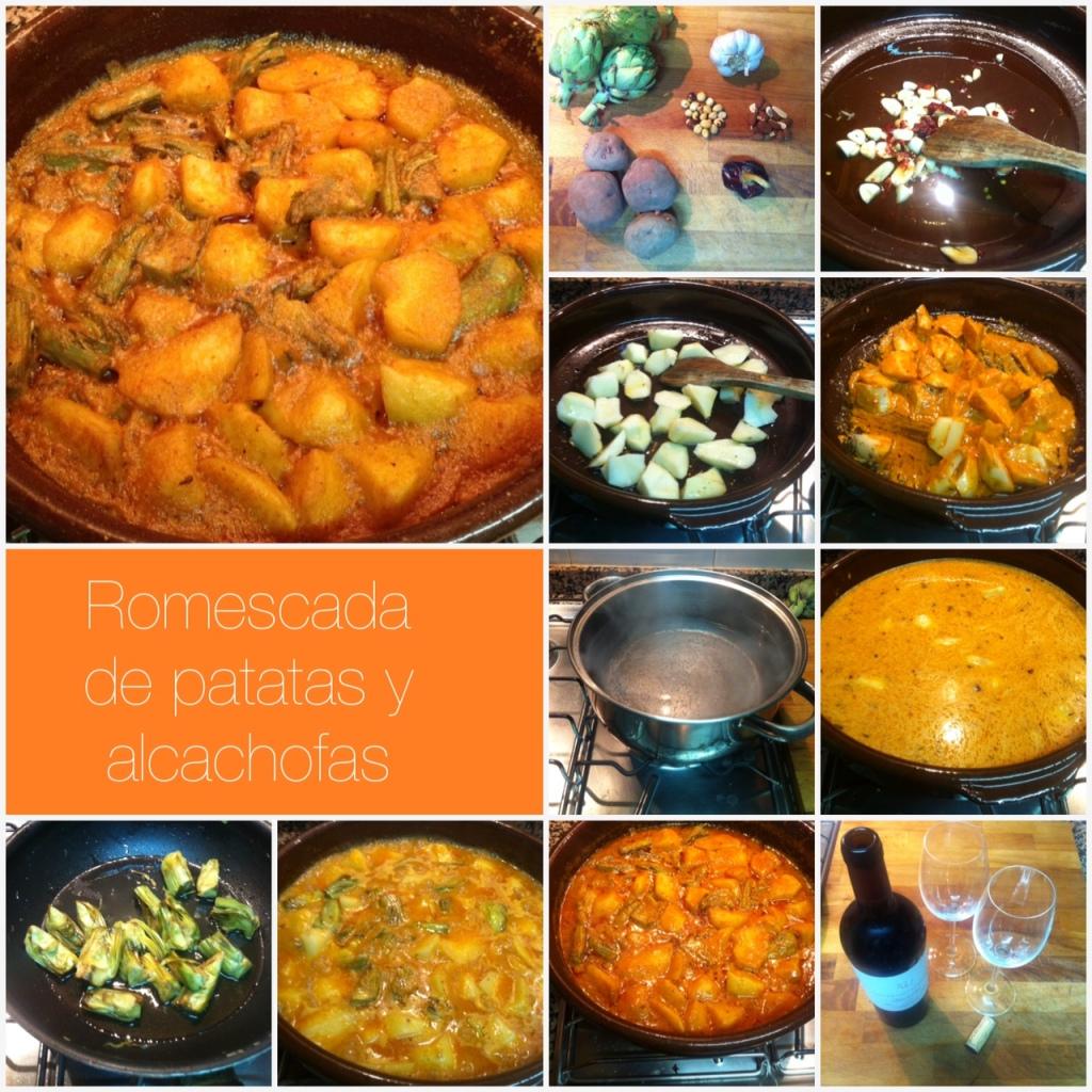 Romescada de patata y alcachofa