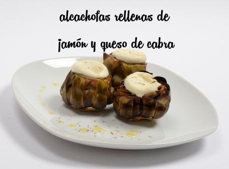 Alcachofa rellena de jamón y queso de cabra
